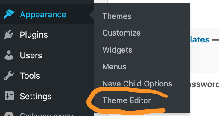 To add Cubiq Add-to-Homescreen to your WordPress website, you will open the Theme Editor in the Admin dashboard.